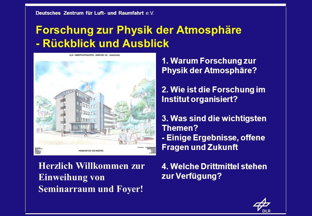 Deutsches Zentrum für Luft- und Raumfahrt e.V. Forschung zur Physik der Atmosphäre - Rückblick und Ausblick 1. Warum Forschung zur Physik der Atmosphä