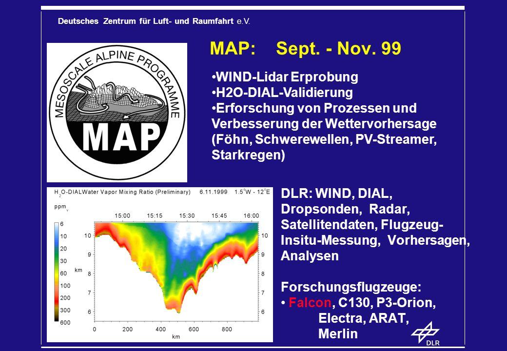 Deutsches Zentrum für Luft- und Raumfahrt e.V. MAP: Sept. - Nov. 99 DLR: WIND, DIAL, Dropsonden, Radar, Satellitendaten, Flugzeug- Insitu-Messung, Vor