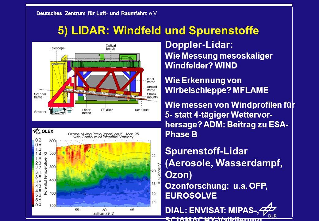 Deutsches Zentrum für Luft- und Raumfahrt e.V. 5) LIDAR: Windfeld und Spurenstoffe Doppler-Lidar: Wie Messung mesoskaliger Windfelder? WIND Wie Erkenn