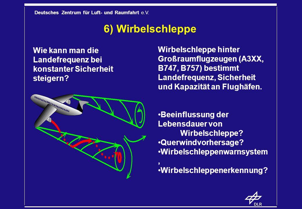 Deutsches Zentrum für Luft- und Raumfahrt e.V. 6) Wirbelschleppe Wirbelschleppe hinter Großraumflugzeugen (A3XX, B747, B757) bestimmt Landefrequenz, S