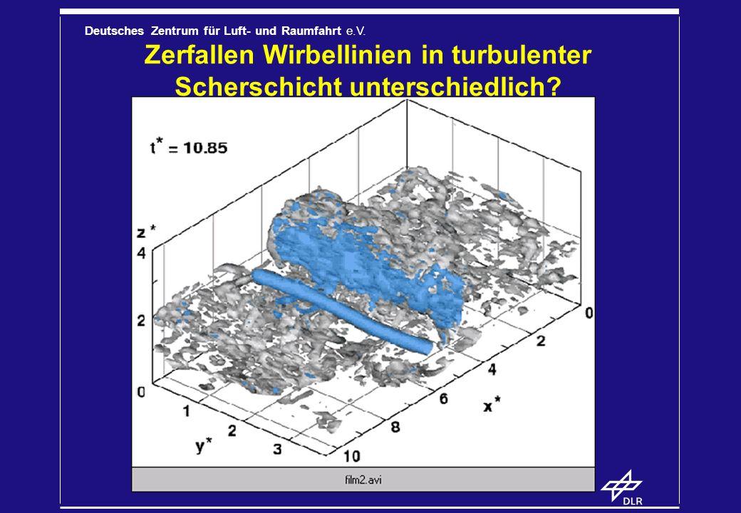 Deutsches Zentrum für Luft- und Raumfahrt e.V. Zerfallen Wirbellinien in turbulenter Scherschicht unterschiedlich?
