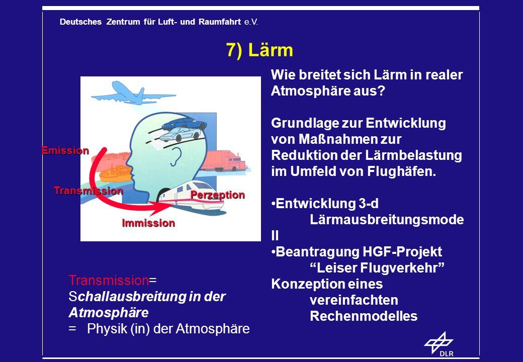 Deutsches Zentrum für Luft- und Raumfahrt e.V. 7) Lärm Wie breitet sich Lärm in realer Atmosphäre aus? Grundlage zur Entwicklung von Maßnahmen zur Red