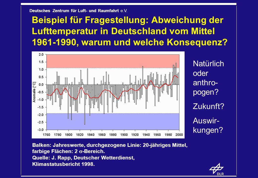 Deutsches Zentrum für Luft- und Raumfahrt e.V. Beispiel für Fragestellung: Abweichung der Lufttemperatur in Deutschland vom Mittel 1961-1990, warum un