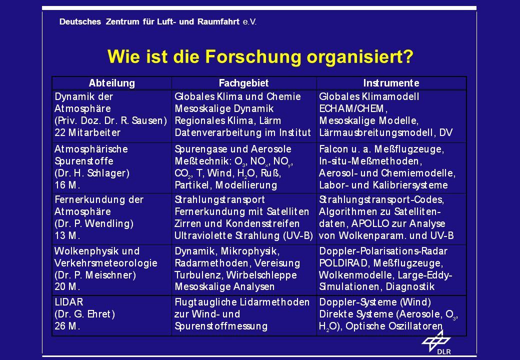 Deutsches Zentrum für Luft- und Raumfahrt e.V.Was sind die wichtigsten Forschungsthemen.