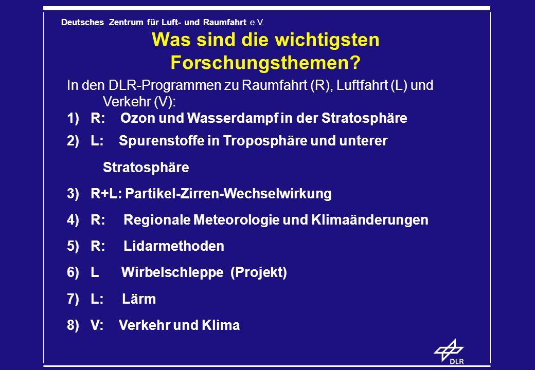 Deutsches Zentrum für Luft- und Raumfahrt e.V. Was sind die wichtigsten Forschungsthemen? In den DLR-Programmen zu Raumfahrt (R), Luftfahrt (L) und Ve