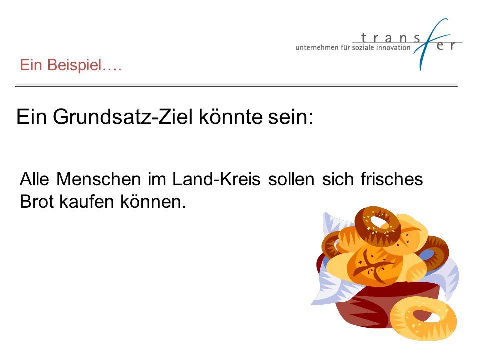 Ein Beispiel…. Ein Grundsatz-Ziel könnte sein: Alle Menschen im Land-Kreis sollen sich frisches Brot kaufen können.