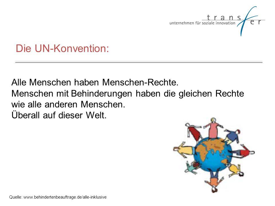 Die UN-Konvention: Alle Menschen haben Menschen-Rechte. Menschen mit Behinderungen haben die gleichen Rechte wie alle anderen Menschen. Überall auf di