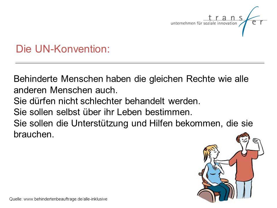 Die UN-Konvention: Behinderte Menschen haben die gleichen Rechte wie alle anderen Menschen auch. Sie dürfen nicht schlechter behandelt werden. Sie sol