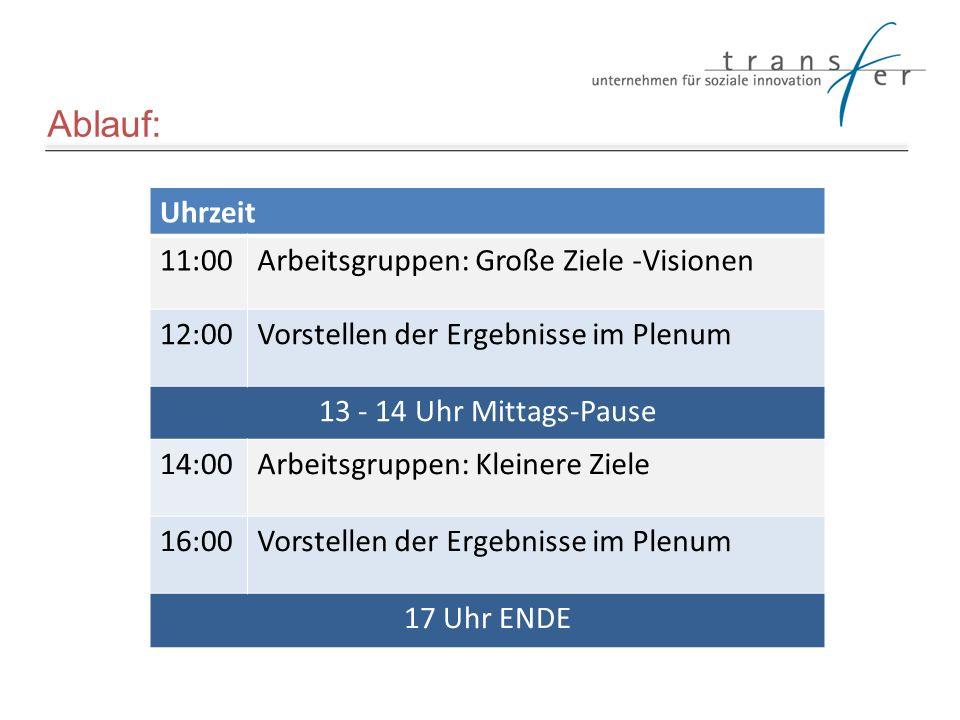 Ablauf: Uhrzeit 11:00Arbeitsgruppen: Große Ziele -Visionen 12:00Vorstellen der Ergebnisse im Plenum 13 - 14 Uhr Mittags-Pause 14:00Arbeitsgruppen: Kle