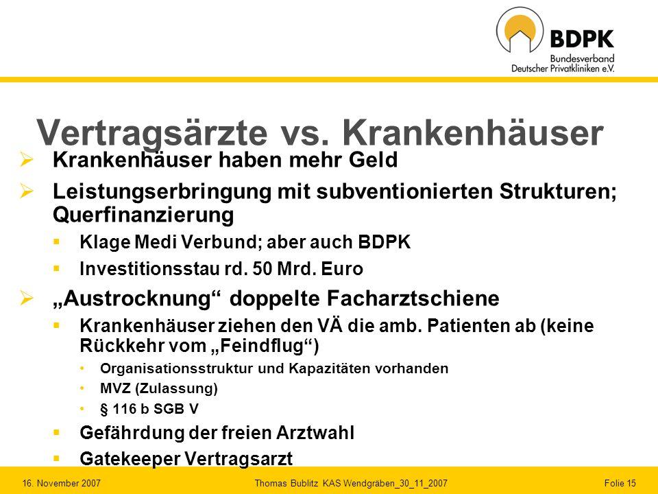 16. November 2007 Thomas Bublitz KAS Wendgräben_30_11_2007 Folie 15 Vertragsärzte vs. Krankenhäuser Krankenhäuser haben mehr Geld Leistungserbringung