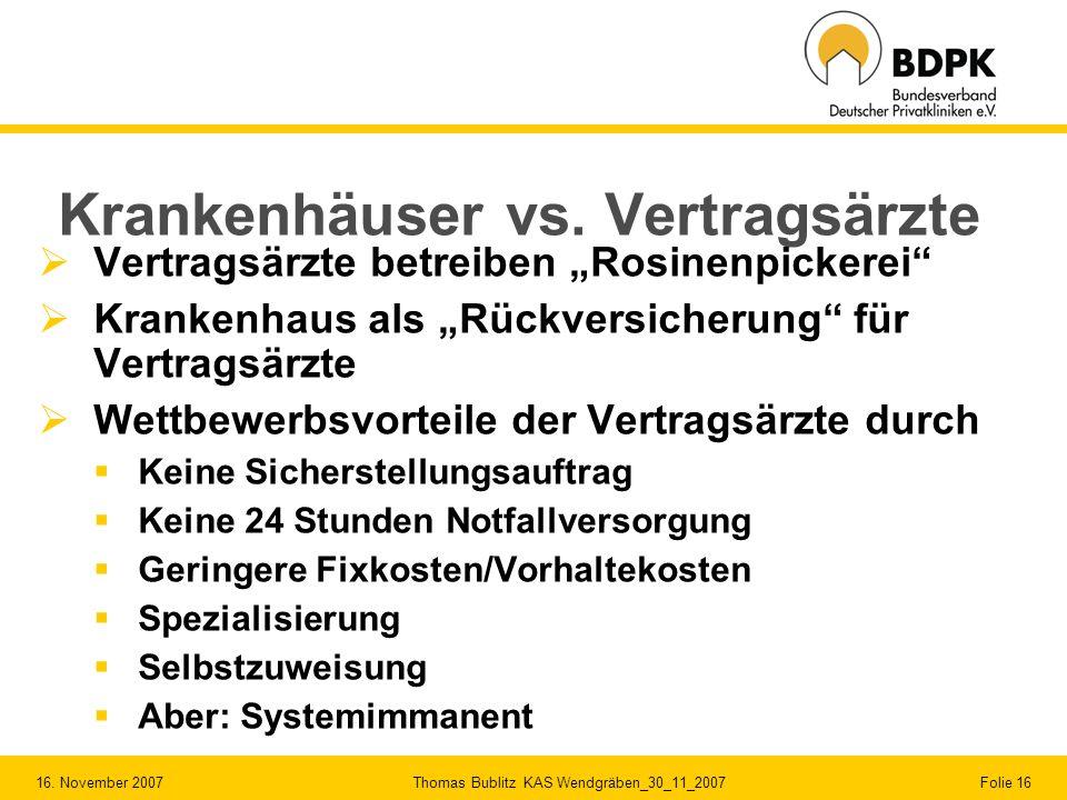 16. November 2007 Thomas Bublitz KAS Wendgräben_30_11_2007 Folie 16 Krankenhäuser vs. Vertragsärzte Vertragsärzte betreiben Rosinenpickerei Krankenhau