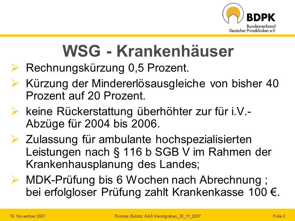 16. November 2007 Thomas Bublitz KAS Wendgräben_30_11_2007 Folie 2 WSG - Krankenhäuser Rechnungskürzung 0,5 Prozent. Kürzung der Mindererlösausgleiche