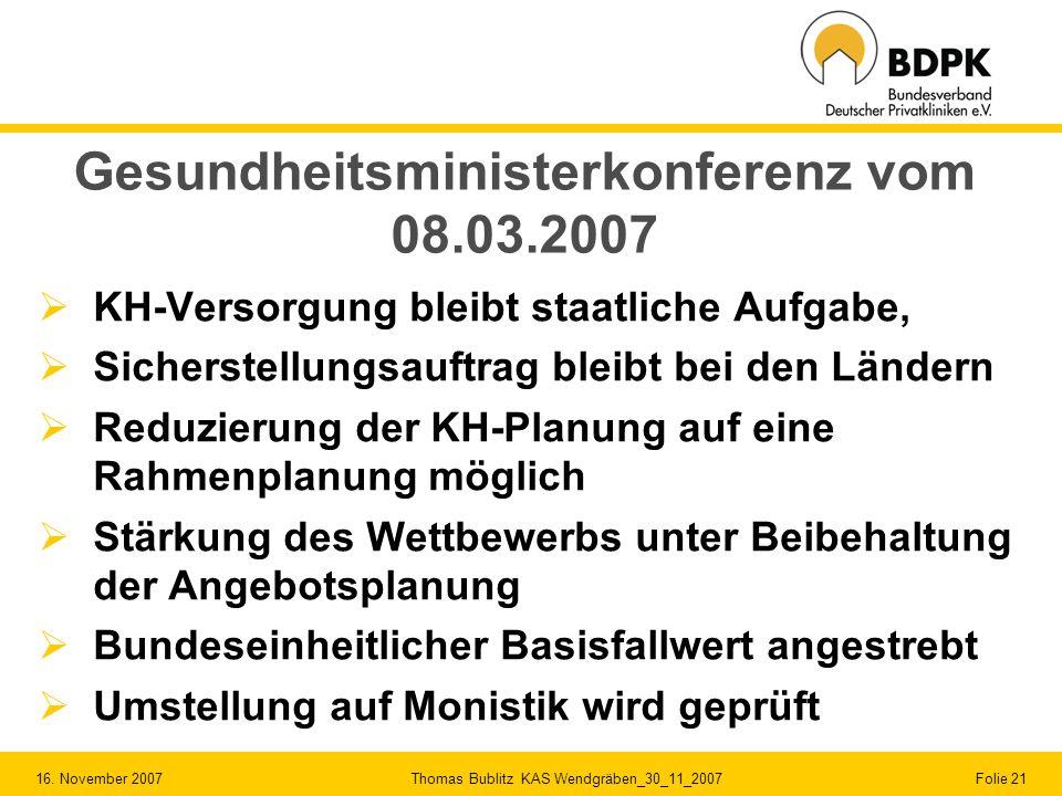 16. November 2007 Thomas Bublitz KAS Wendgräben_30_11_2007 Folie 21 Gesundheitsministerkonferenz vom 08.03.2007 KH-Versorgung bleibt staatliche Aufgab