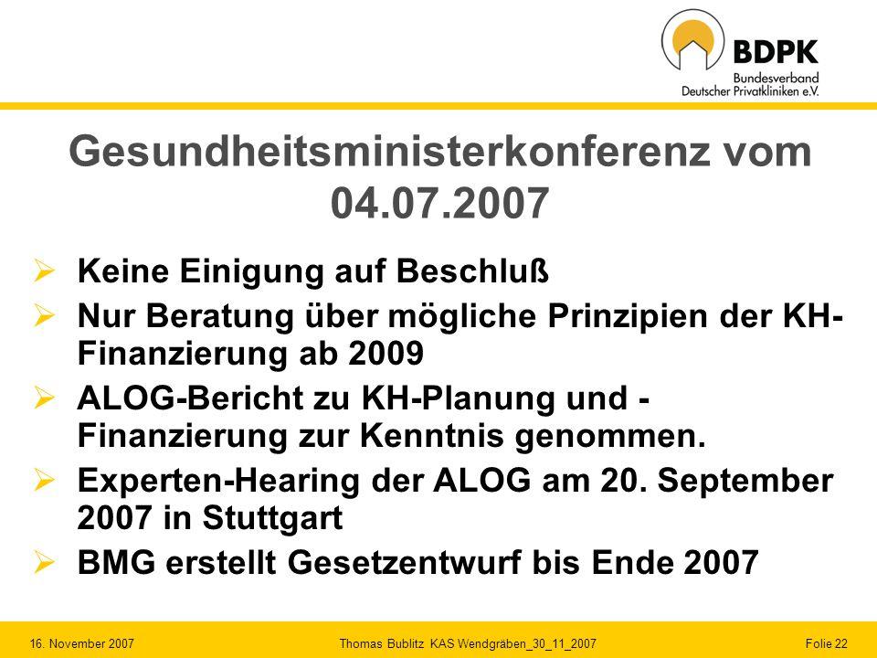 16. November 2007 Thomas Bublitz KAS Wendgräben_30_11_2007 Folie 22 Gesundheitsministerkonferenz vom 04.07.2007 Keine Einigung auf Beschluß Nur Beratu