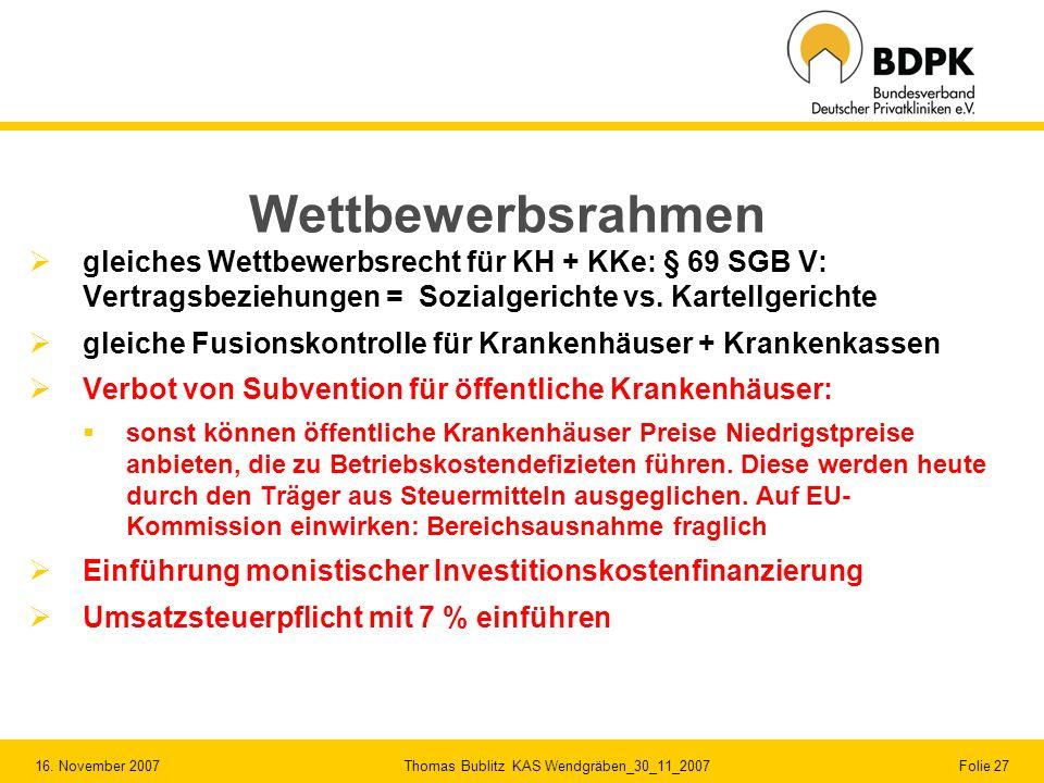 16. November 2007 Thomas Bublitz KAS Wendgräben_30_11_2007 Folie 27 Wettbewerbsrahmen gleiches Wettbewerbsrecht für KH + KKe: § 69 SGB V: Vertragsbezi