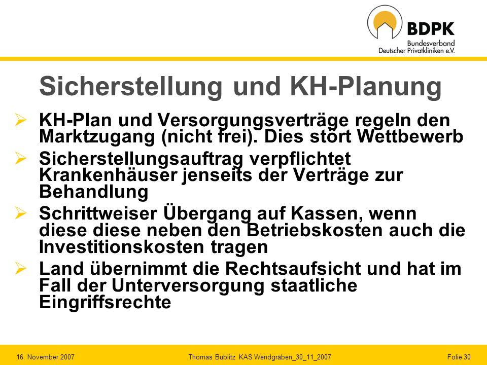 16. November 2007 Thomas Bublitz KAS Wendgräben_30_11_2007 Folie 30 Sicherstellung und KH-Planung KH-Plan und Versorgungsverträge regeln den Marktzuga