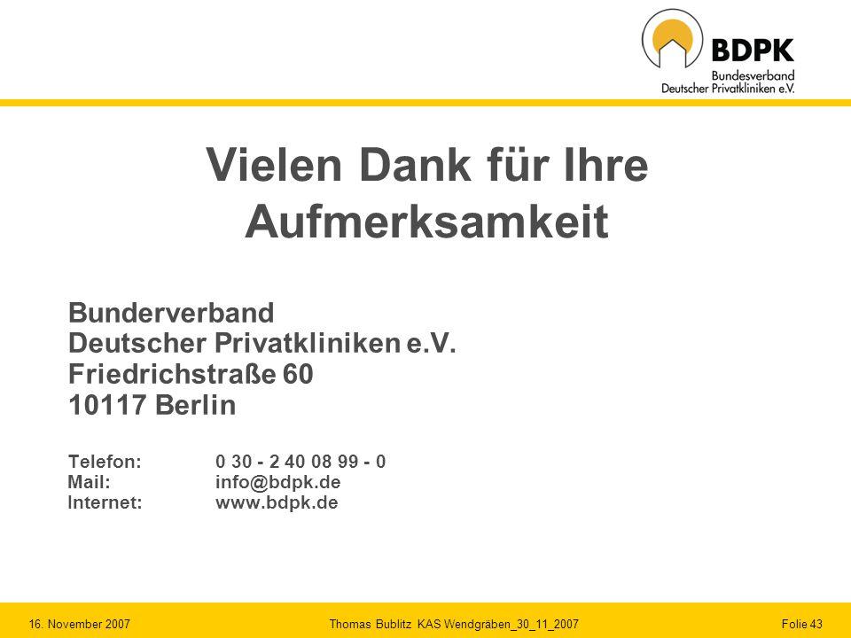 16. November 2007 Thomas Bublitz KAS Wendgräben_30_11_2007 Folie 43 Vielen Dank für Ihre Aufmerksamkeit Bunderverband Deutscher Privatkliniken e.V. Fr