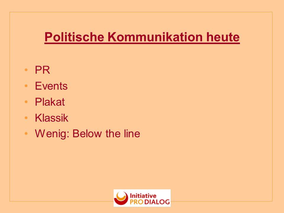 Politische Kommunikation heute PR Events Plakat Klassik Wenig: Below the line