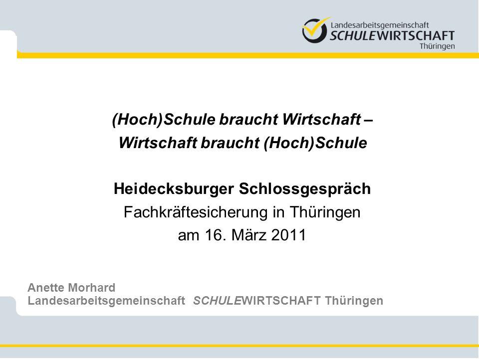 (Hoch)Schule braucht Wirtschaft – Wirtschaft braucht (Hoch)Schule Heidecksburger Schlossgespräch Fachkräftesicherung in Thüringen am 16. März 2011 Ane