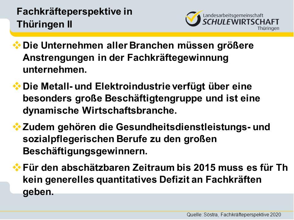 Fachkräfteperspektive in Thüringen II Die Unternehmen aller Branchen müssen größere Anstrengungen in der Fachkräftegewinnung unternehmen. Die Metall-