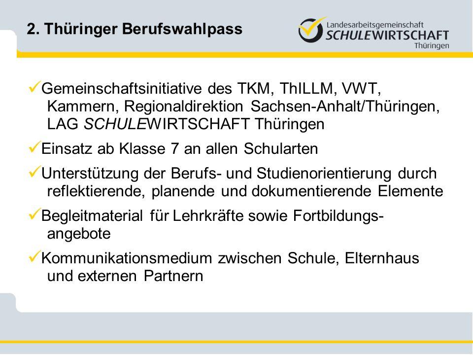 2. Thüringer Berufswahlpass Gemeinschaftsinitiative des TKM, ThILLM, VWT, Kammern, Regionaldirektion Sachsen-Anhalt/Thüringen, LAG SCHULEWIRTSCHAFT Th