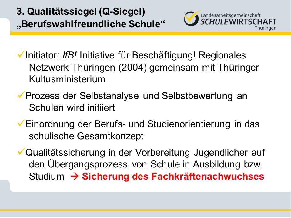 Initiator: IfB! Initiative für Beschäftigung! Regionales Netzwerk Thüringen (2004) gemeinsam mit Thüringer Kultusministerium Prozess der Selbstanalyse