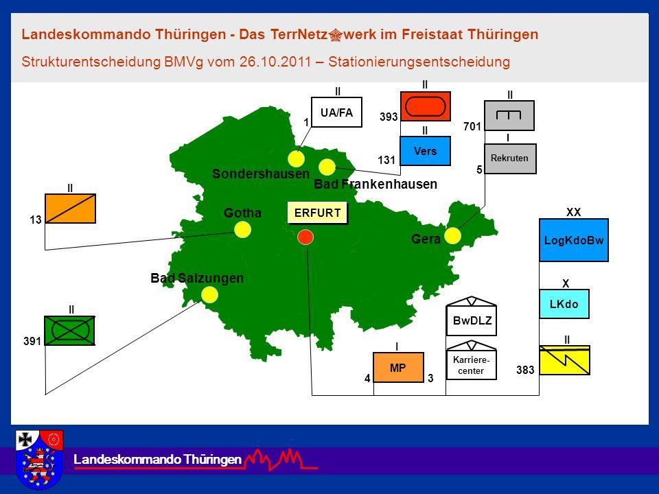 Landeskommando Thüringen Gotha Bad Salzungen Bad Frankenhausen Sondershausen Karriere- center BwDLZ 131 13 391 II 701 II X LKdo 383 II Landeskommando