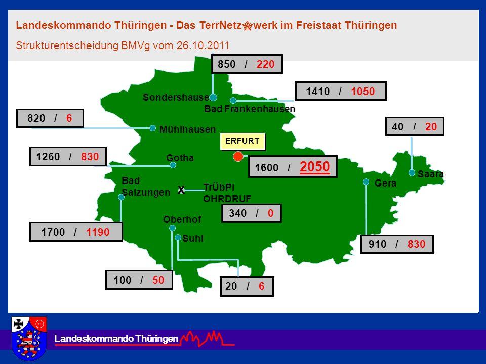 Landeskommando Thüringen Landeskommando Thüringen - Das TerrNetz werk im Freistaat Thüringen Strukturentscheidung BMVg vom 26.10.2011 ERFURT Mühlhause