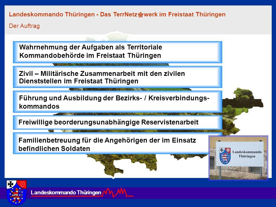 Landeskommando Thüringen Wahrnehmung der Aufgaben als Territoriale Kommandobehörde im Freistaat Thüringen Führung und Ausbildung der Bezirks- / Kreisv