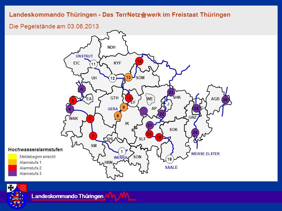 Landeskommando Thüringen Hochwasseralarmstufen Meldebeginn erreicht Alarmstufe 1 Alarmstufe 2 Alarmstufe 3 EF AGB G WE GRZ SON SÖM GTH EA EIC UH HBN S