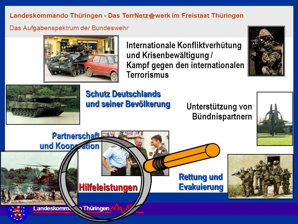 Landeskommando Thüringen Die Bundeswehr trägt in einem vernetzten gesamtstaatlichen Ansatz mit ihren Fähigkeiten im Rahmen der gesetzlichen Rahmenbedingungen zum Schutz der Bürger und Bürgerinnen sowie von lebenswichtiger Infrastruktur im Inland bei.