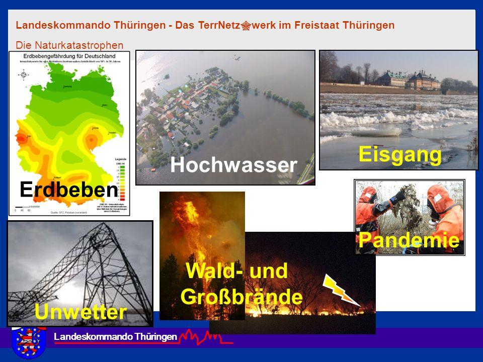 Landeskommando Thüringen Hochwasser Erdbeben Eisgang Unwetter Wald- und Großbrände Pandemie Landeskommando Thüringen - Das TerrNetz werk im Freistaat