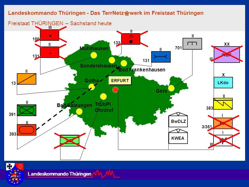 Landeskommando Thüringen TrÜbPl Ohrdruf Gera Gotha Bad Salzungen Bad Frankenhausen Sondershausen Mühlhausen ERFURT 131 III 100 131 II ASt 13 II 391 39