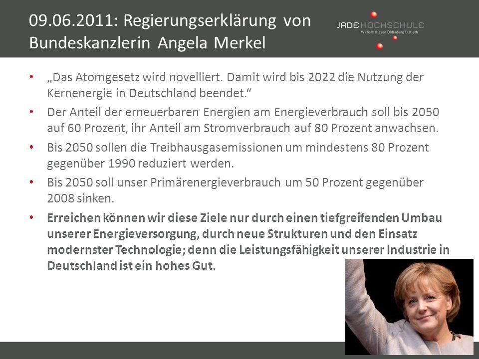 Das Atomgesetz wird novelliert. Damit wird bis 2022 die Nutzung der Kernenergie in Deutschland beendet. Der Anteil der erneuerbaren Energien am Energi