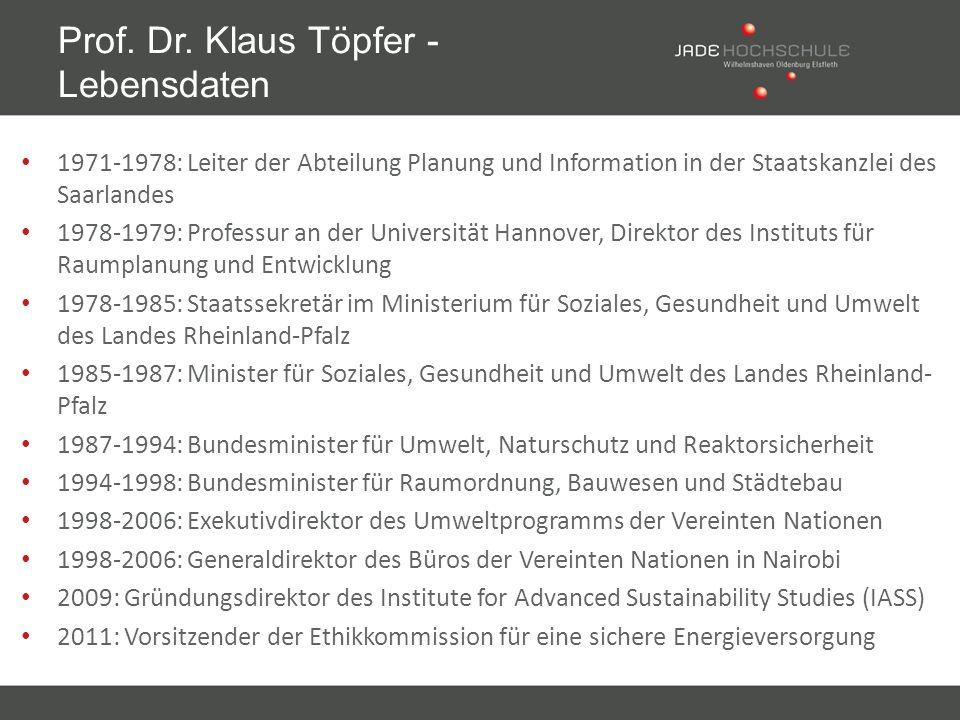 1971-1978: Leiter der Abteilung Planung und Information in der Staatskanzlei des Saarlandes 1978-1979: Professur an der Universität Hannover, Direktor