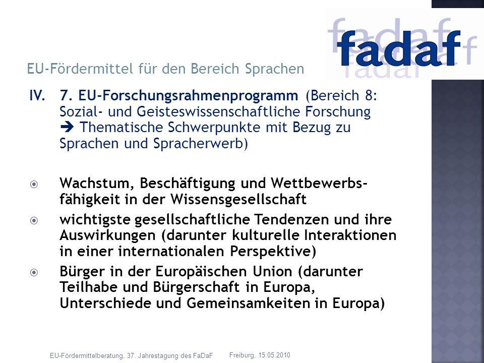 IV.7. EU-Forschungsrahmenprogramm (Bereich 8: Sozial- und Geisteswissenschaftliche Forschung Thematische Schwerpunkte mit Bezug zu Sprachen und Sprach