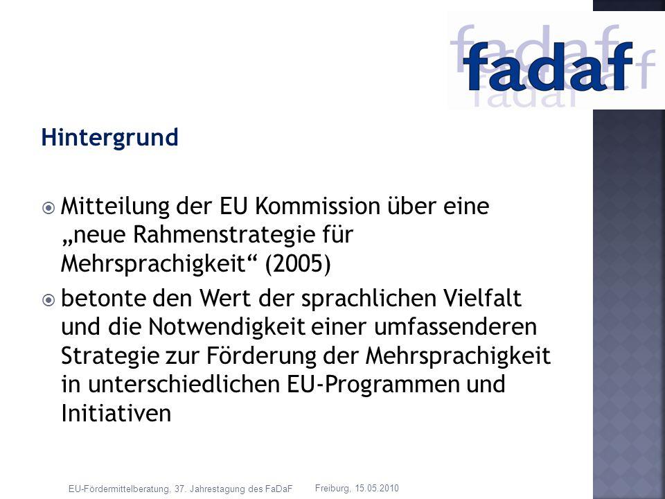 Hintergrund Mitteilung der EU Kommission über eine neue Rahmenstrategie für Mehrsprachigkeit (2005) betonte den Wert der sprachlichen Vielfalt und die