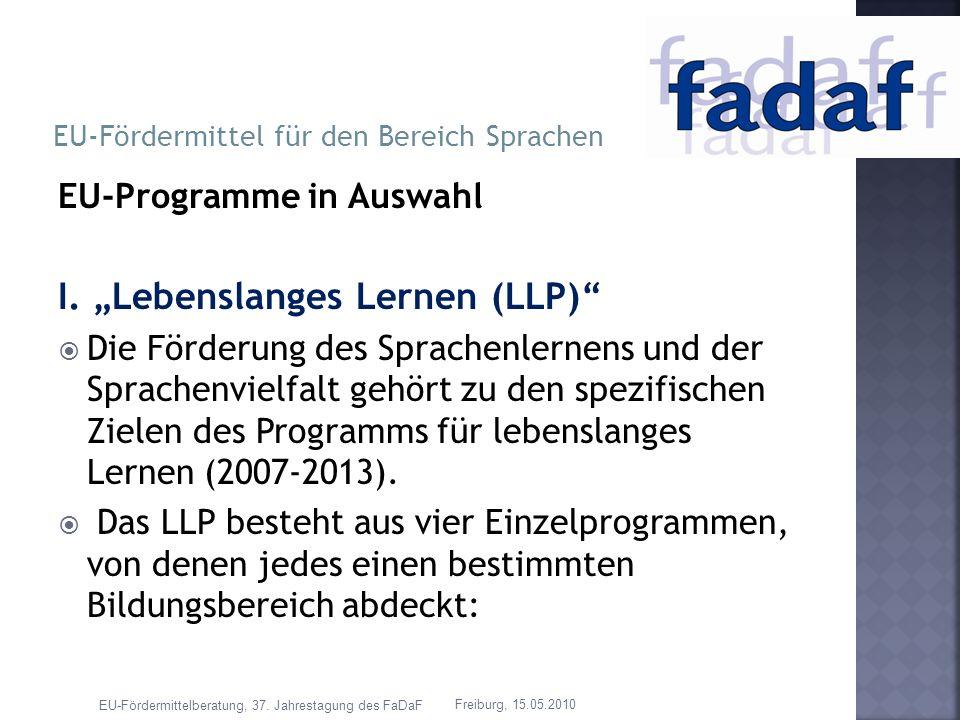 EU-Programme in Auswahl I. Lebenslanges Lernen (LLP) Die Förderung des Sprachenlernens und der Sprachenvielfalt gehört zu den spezifischen Zielen des