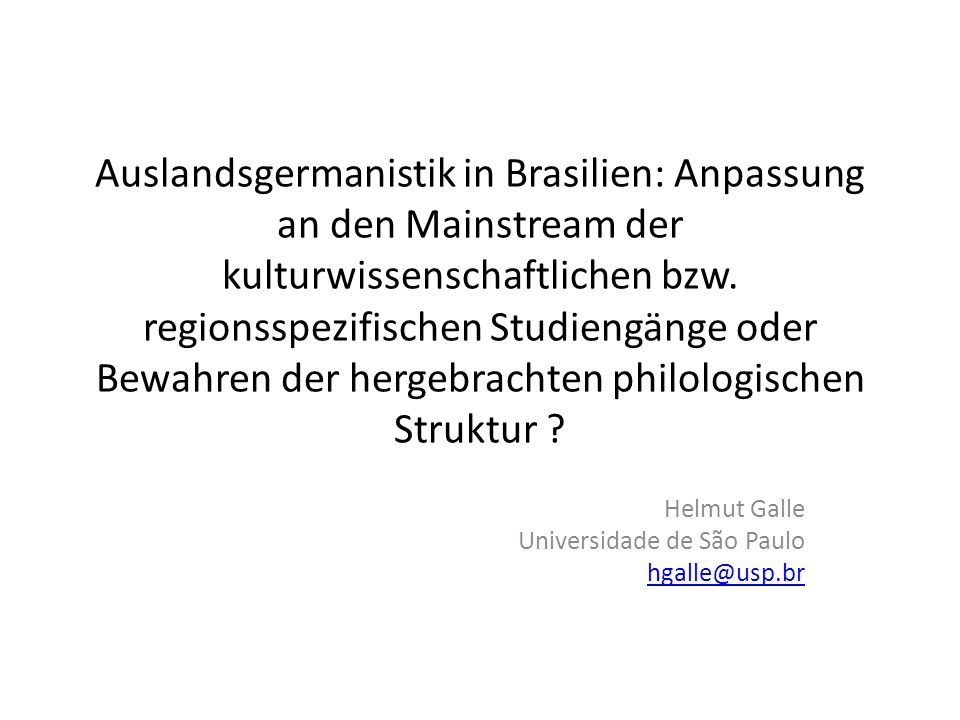 Germanistik in der Krise.
