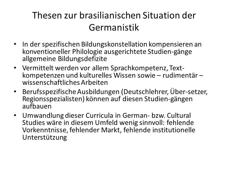 Thesen zur brasilianischen Situation der Germanistik In der spezifischen Bildungskonstellation kompensieren an konventioneller Philologie ausgerichtet