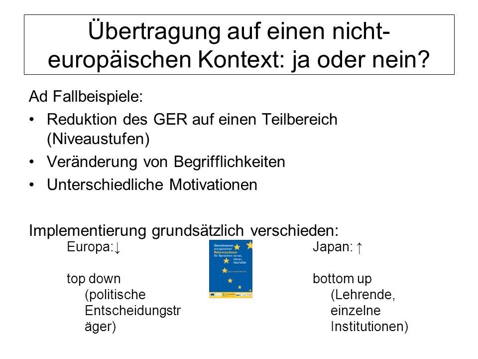 Übertragung auf einen nicht- europäischen Kontext: ja oder nein? Ad Fallbeispiele: Reduktion des GER auf einen Teilbereich (Niveaustufen) Veränderung