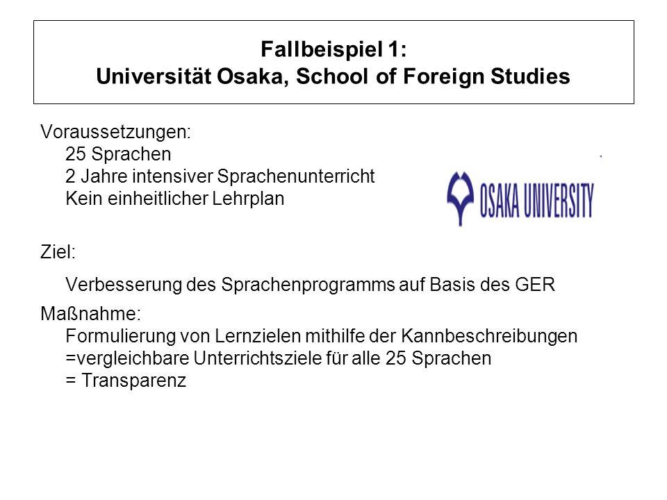 Fallbeispiel 1: Universität Osaka, School of Foreign Studies Voraussetzungen: 25 Sprachen 2 Jahre intensiver Sprachenunterricht Kein einheitlicher Leh