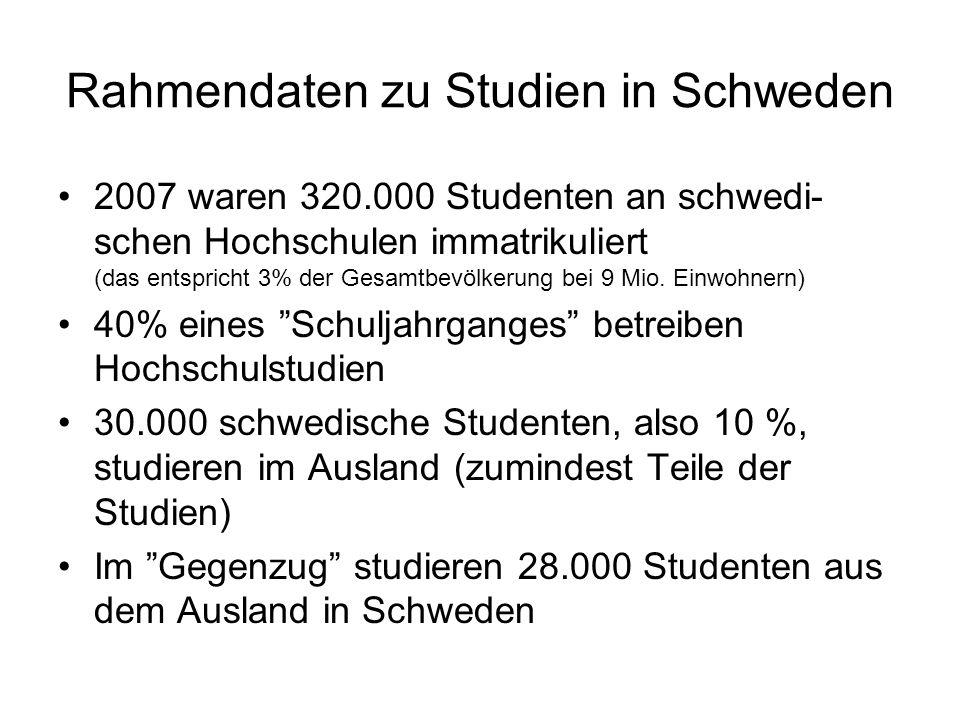 Rahmendaten zu Studien in Schweden 2007 waren 320.000 Studenten an schwedi- schen Hochschulen immatrikuliert (das entspricht 3% der Gesamtbevölkerung bei 9 Mio.