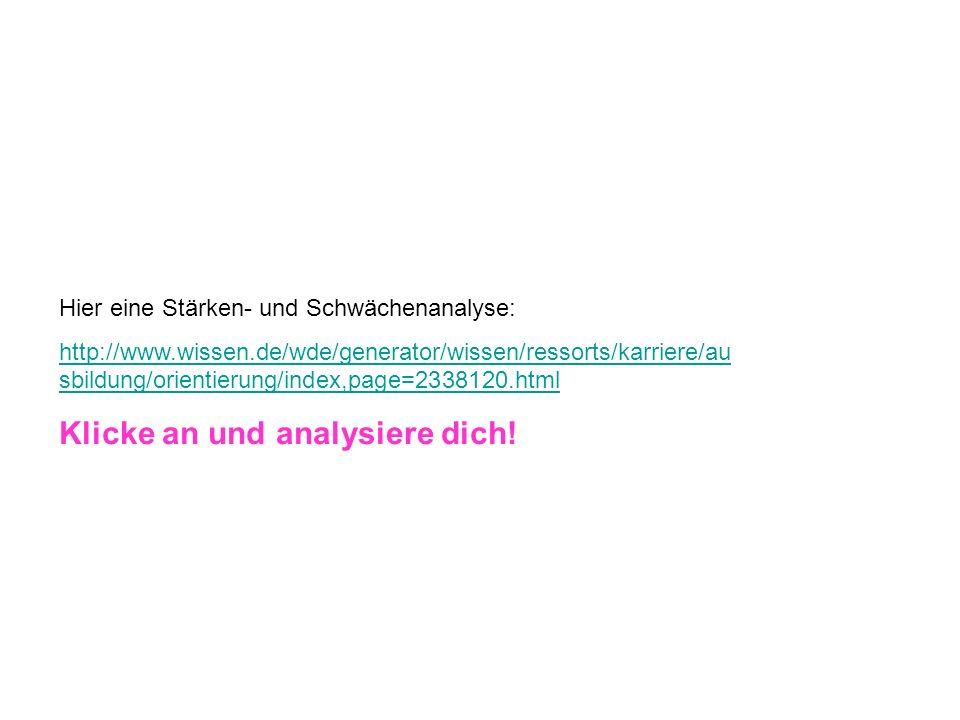 Hier eine Stärken- und Schwächenanalyse: http://www.wissen.de/wde/generator/wissen/ressorts/karriere/au sbildung/orientierung/index,page=2338120.html