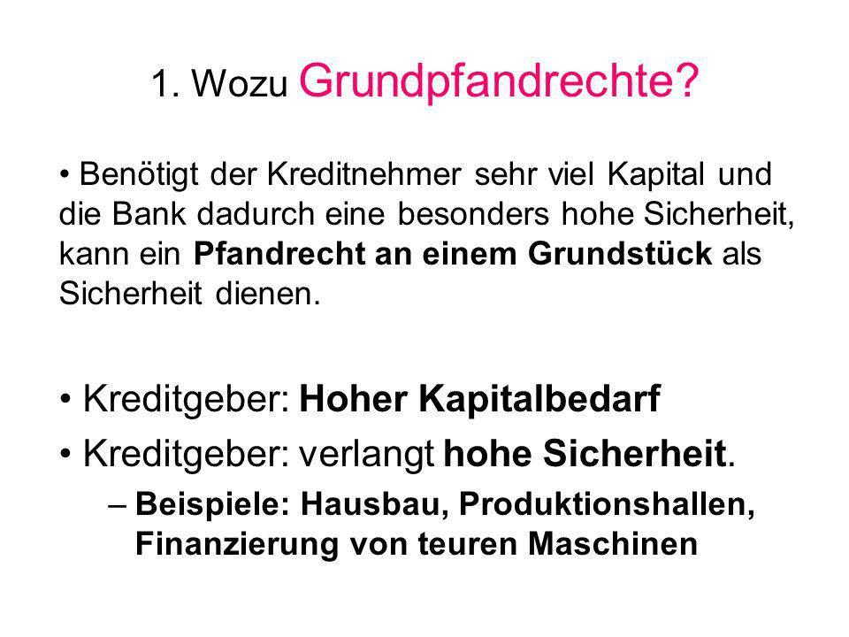 1. Wozu Grundpfandrechte? Benötigt der Kreditnehmer sehr viel Kapital und die Bank dadurch eine besonders hohe Sicherheit, kann ein Pfandrecht an eine