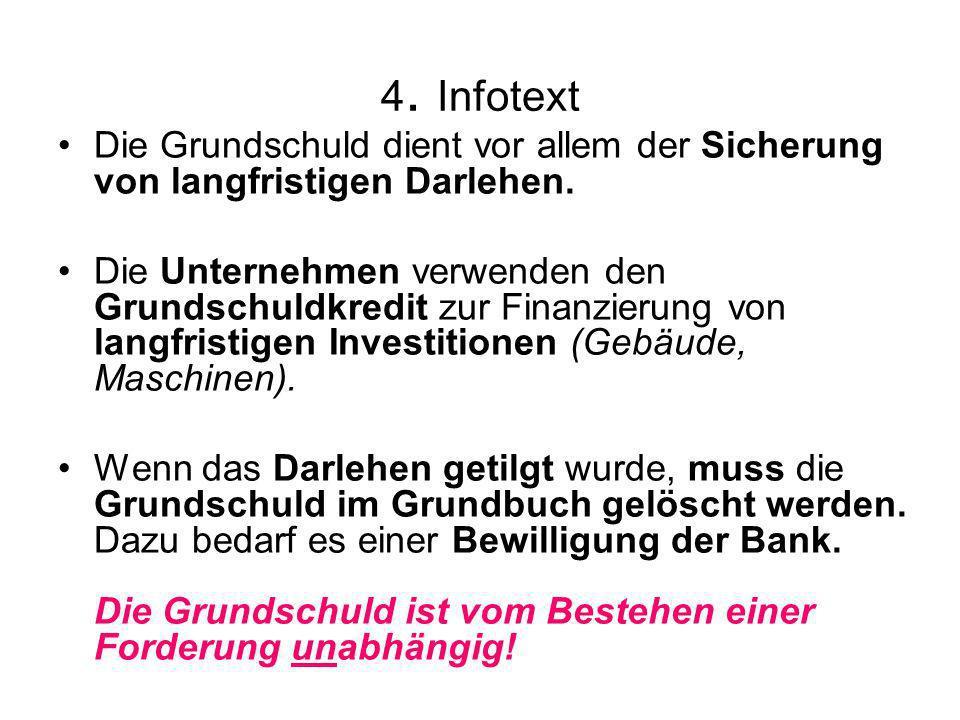 4. Infotext Die Grundschuld dient vor allem der Sicherung von langfristigen Darlehen. Die Unternehmen verwenden den Grundschuldkredit zur Finanzierung