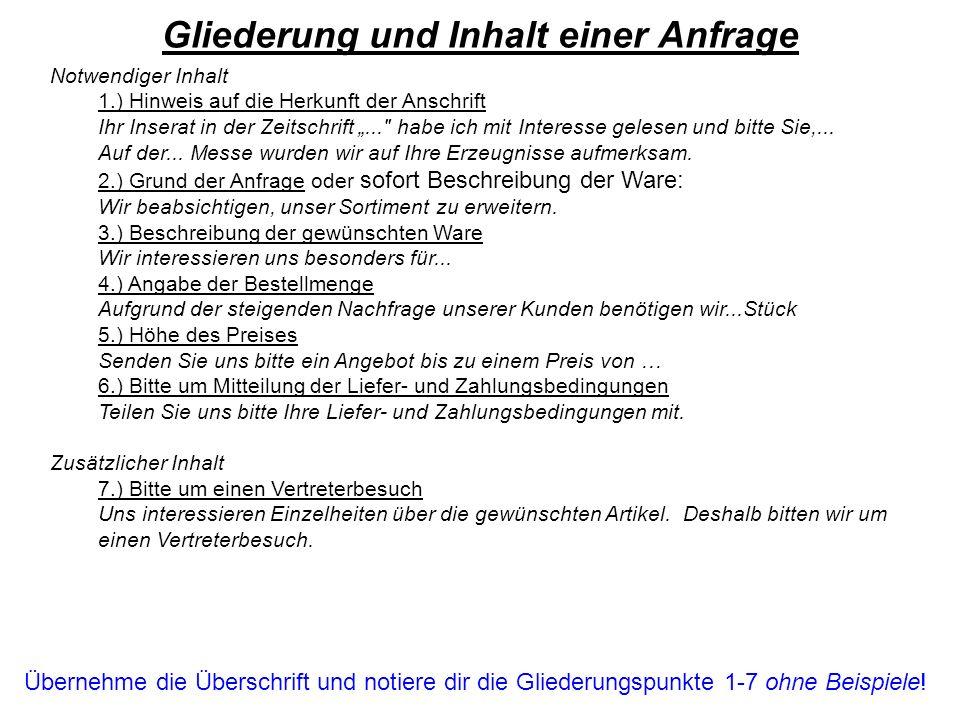 Notwendiger Inhalt 1.) Hinweis auf die Herkunft der Anschrift Ihr Inserat in der Zeitschrift...