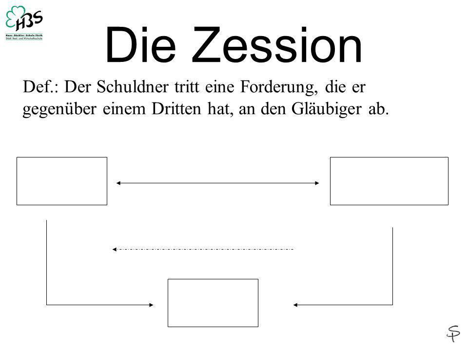 Die Zession Def.: Der Schuldner tritt eine Forderung, die er gegenüber einem Dritten hat, an den Gläubiger ab.