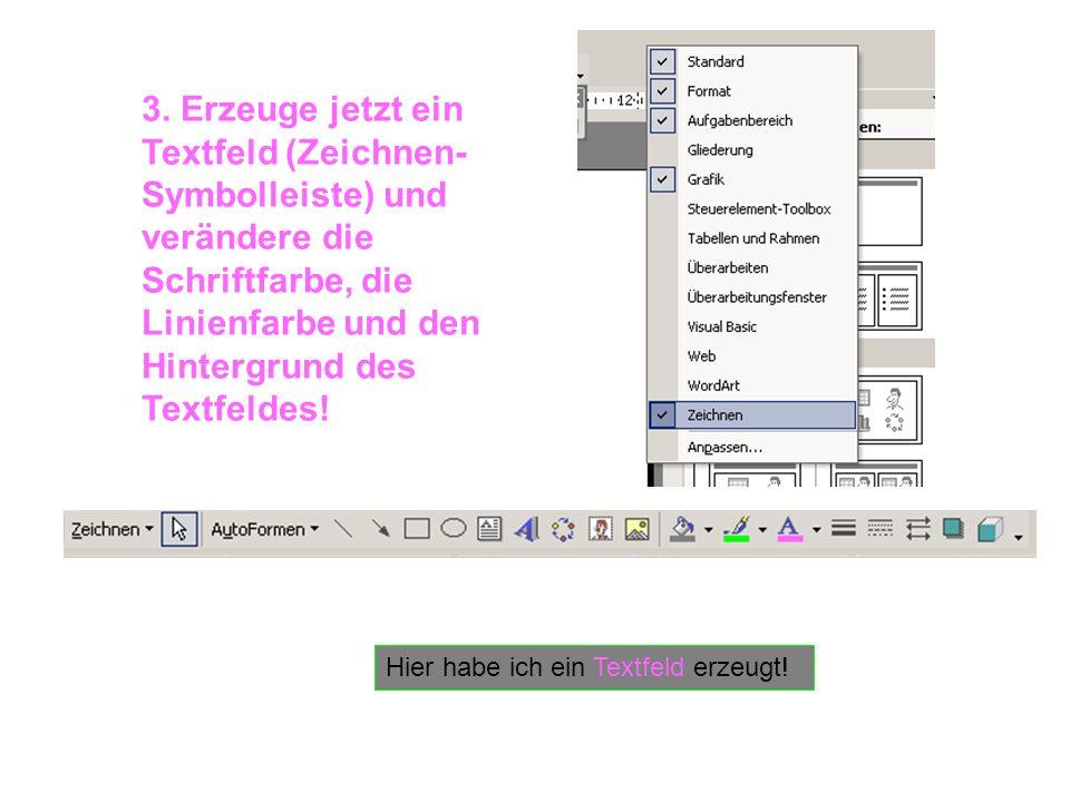 Hier habe ich ein Textfeld erzeugt! 3. Erzeuge jetzt ein Textfeld (Zeichnen- Symbolleiste) und verändere die Schriftfarbe, die Linienfarbe und den Hin