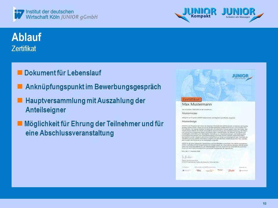 10 Ablauf Zertifikat Dokument für Lebenslauf Anknüpfungspunkt im Bewerbungsgespräch Hauptversammlung mit Auszahlung der Anteilseigner Möglichkeit für